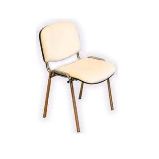 Látogató szék crom – fehér műbőr bevonat