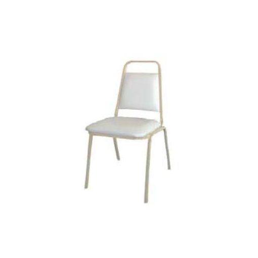 Kórtermi támlás szék, Montreal, karfával, karfa nélkül - fehér váz és műbőr